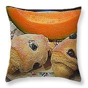 Blueberry Scones And Cantaloupe Throw Pillow