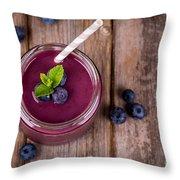 Blueberry Smoothie Throw Pillow