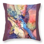 Bluebird And Butterflies Throw Pillow