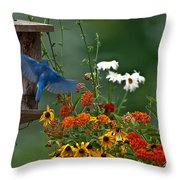 Bluebird And Colorful Flowers Throw Pillow