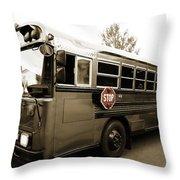 Bluebird Bus Limo 3 Throw Pillow