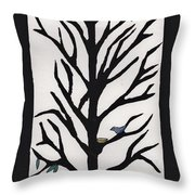 Bluebird In A Pear Tree Throw Pillow