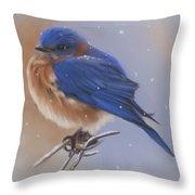 Bluebird In The Snow Throw Pillow
