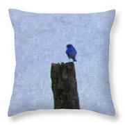 Bluebird On A Fencepost Throw Pillow