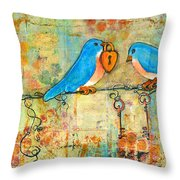 Bluebird Painting - Art Key To My Heart Throw Pillow