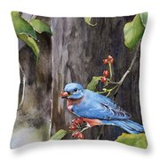 Bluebird - Red Berries Throw Pillow