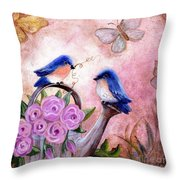 Bluebirds And Butterflies Throw Pillow