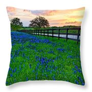 Bluebonnet Fields Forever Brenham Texas Throw Pillow