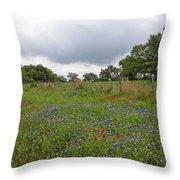 Bluebonnet Hill Throw Pillow