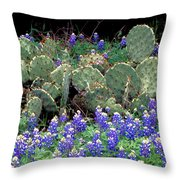 Bluebonnets And Cacti Throw Pillow