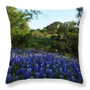 Bluebonnets By The Pond Throw Pillow