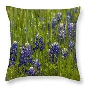 Bluebonnets In The Grass Throw Pillow