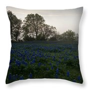 Bluebonnets On A Hazy Morning Throw Pillow