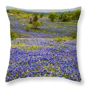 Bluebonnets Over Hill And Dale Throw Pillow