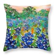 Bluebonnets Sunrise Throw Pillow