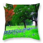 Bluebonnets With Red Flourish  Throw Pillow