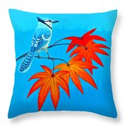 Bluejay In The Fall 2 Throw Pillow