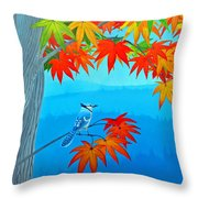 Bluejay In The Fall Throw Pillow