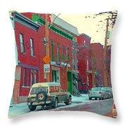 Blues And Brick Houses Winter Street Suburban Scenes The Point Sud Ouest Montreal Art Carole Spandau Throw Pillow