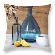Blues And Oranges Throw Pillow