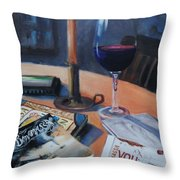 Blues And Wine Throw Pillow by Donna Tuten