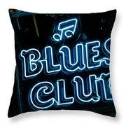 Blues Club On Bourbon Street Nola  Throw Pillow