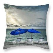 Blueumbrellassanibelisland Throw Pillow