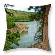 Bluff Over The River In Five Finger Rapids Recreation Site Along Klondike Hwy-yt  Throw Pillow