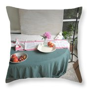 Blur Bottle And Peony And Background Throw Pillow