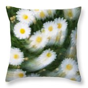 Blurred Daisies Throw Pillow