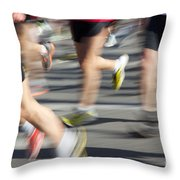 Blurred Marathon Runners Throw Pillow
