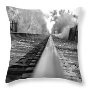 Blurred Track Throw Pillow