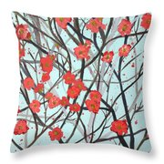 Blushing Blossoms Throw Pillow