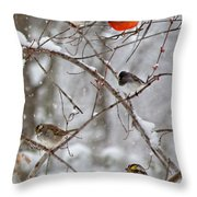 Blushing Red Cardinal In The Snow Throw Pillow