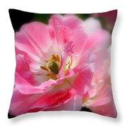 Blushing Spring Tulip Throw Pillow