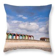 Blyth Beach Huts Throw Pillow