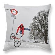 Bmx Flatland In The Snow - Monika Hinz Jumping Throw Pillow by Matthias Hauser
