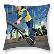 Bmx Flatland - Monika Hinz Riding On Rear Wheel Throw Pillow