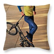 Bmx Flatland Ride - Wonderful Warm Light Throw Pillow