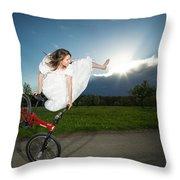 Bmx Flatland Rider Monika Hinz Jumps In Wedding Dress Throw Pillow