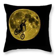Bmx Moon Throw Pillow