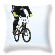 Bmx Racer Goes Airborne Throw Pillow