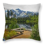 Board Walk- Lake- Fir Trees And Mount Baker Throw Pillow