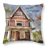 Boarded Up Old Characer Home Watercolor Throw Pillow