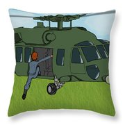 Boarding A Helicopter Throw Pillow