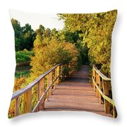 Boardwalk In A Forest, Magee Marsh Throw Pillow