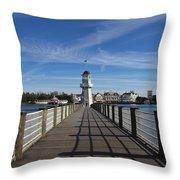 Boardwalk Lighthouse Throw Pillow