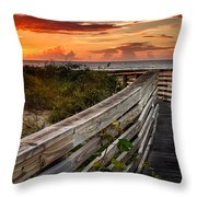 Boardwalk Sunrise Amelia Island Florida Throw Pillow