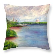 Boardwalk To Beach At John D Macarthur State Park Throw Pillow