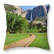 Boardwalk To Yosemite Falls  Throw Pillow